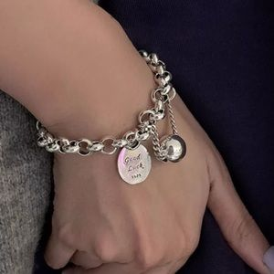 Silver Plated 925 Good Luck Chunky Bracelet
